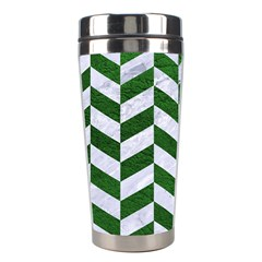 Chevron1 White Marble & Green Leather Stainless Steel Travel Tumblers