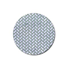 Brick2 White Marble & Green Leather (r) Rubber Coaster (round)
