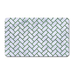 Brick2 White Marble & Green Leather (r) Magnet (rectangular)