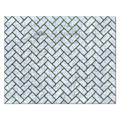 Brick2 White Marble & Green Leather (r) Rectangular Jigsaw Puzzl
