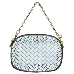 Brick2 White Marble & Green Leather (r) Chain Purses (two Sides)