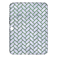 Brick2 White Marble & Green Leather (r) Samsung Galaxy Tab 3 (10 1 ) P5200 Hardshell Case