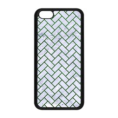 Brick2 White Marble & Green Leather (r) Apple Iphone 5c Seamless Case (black)