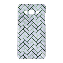 Brick2 White Marble & Green Leather (r) Samsung Galaxy A5 Hardshell Case