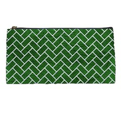 Brick2 White Marble & Green Leather Pencil Cases