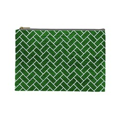 Brick2 White Marble & Green Leather Cosmetic Bag (large)