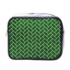 Brick2 White Marble & Green Leather Mini Toiletries Bags