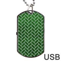 Brick2 White Marble & Green Leather Dog Tag Usb Flash (two Sides)
