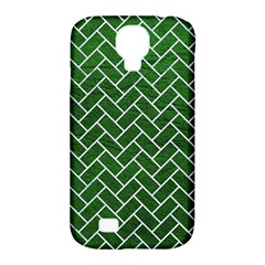 Brick2 White Marble & Green Leather Samsung Galaxy S4 Classic Hardshell Case (pc+silicone)