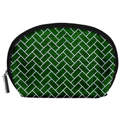 Brick2 White Marble & Green Leather Accessory Pouches (large)