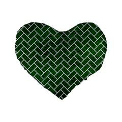 Brick2 White Marble & Green Leather Standard 16  Premium Flano Heart Shape Cushions