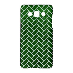 Brick2 White Marble & Green Leather Samsung Galaxy A5 Hardshell Case