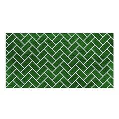 Brick2 White Marble & Green Leather Satin Shawl