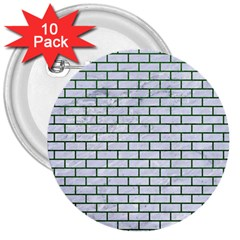 Brick1 White Marble & Green Leather (r) 3  Buttons (10 Pack)