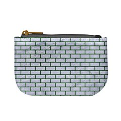 Brick1 White Marble & Green Leather (r) Mini Coin Purses