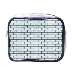 Brick1 White Marble & Green Leather (r) Mini Toiletries Bags