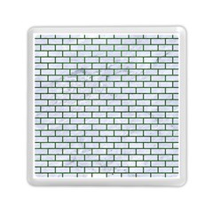 Brick1 White Marble & Green Leather (r) Memory Card Reader (square)