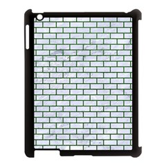 Brick1 White Marble & Green Leather (r) Apple Ipad 3/4 Case (black)
