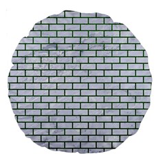 Brick1 White Marble & Green Leather (r) Large 18  Premium Round Cushions