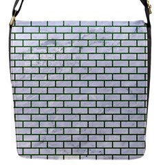 Brick1 White Marble & Green Leather (r) Flap Messenger Bag (s)