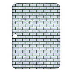 Brick1 White Marble & Green Leather (r) Samsung Galaxy Tab 3 (10 1 ) P5200 Hardshell Case