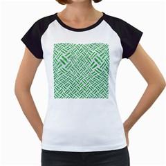 Woven2 White Marble & Green Glitter (r) Women s Cap Sleeve T
