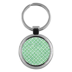 Woven2 White Marble & Green Glitter (r) Key Chains (round)