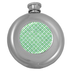 Woven2 White Marble & Green Glitter (r) Round Hip Flask (5 Oz)