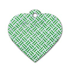 Woven2 White Marble & Green Glitter (r) Dog Tag Heart (one Side)
