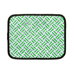Woven2 White Marble & Green Glitter (r) Netbook Case (small)
