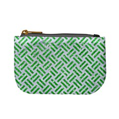 Woven2 White Marble & Green Glitter (r) Mini Coin Purses
