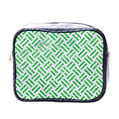 Woven2 White Marble & Green Glitter (r) Mini Toiletries Bags by trendistuff