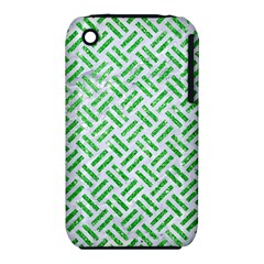Woven2 White Marble & Green Glitter (r) Iphone 3s/3gs