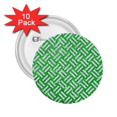 Woven2 White Marble & Green Glitter 2 25  Buttons (10 Pack)