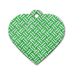 Woven2 White Marble & Green Glitter Dog Tag Heart (two Sides)