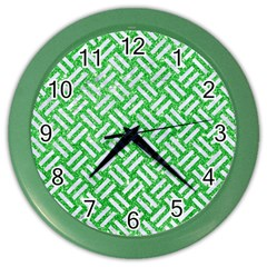 Woven2 White Marble & Green Glitter Color Wall Clock