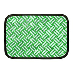 Woven2 White Marble & Green Glitter Netbook Case (medium)