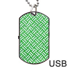 Woven2 White Marble & Green Glitter Dog Tag Usb Flash (two Sides)