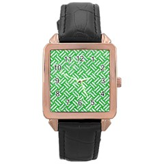 Woven2 White Marble & Green Glitter Rose Gold Leather Watch