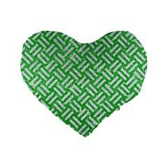 Woven2 White Marble & Green Glitter Standard 16  Premium Flano Heart Shape Cushions