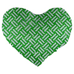 Woven2 White Marble & Green Glitter Large 19  Premium Flano Heart Shape Cushions