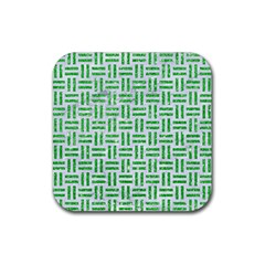 Woven1 White Marble & Green Glitter (r) Rubber Square Coaster (4 Pack)
