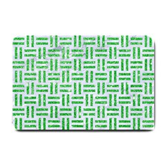 Woven1 White Marble & Green Glitter (r) Small Doormat