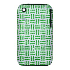 Woven1 White Marble & Green Glitter (r) Iphone 3s/3gs