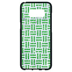 Woven1 White Marble & Green Glitter (r) Samsung Galaxy S8 Black Seamless Case