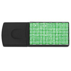 Woven1 White Marble & Green Glitter Rectangular Usb Flash Drive