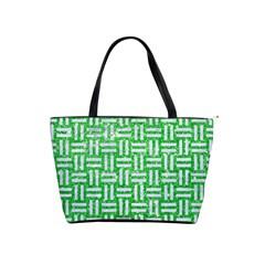 Woven1 White Marble & Green Glitter Shoulder Handbags