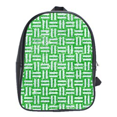 Woven1 White Marble & Green Glitter School Bag (large)
