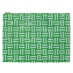 Woven1 White Marble & Green Glitter Cosmetic Bag (xxl)