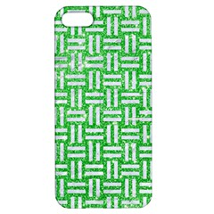Woven1 White Marble & Green Glitter Apple Iphone 5 Hardshell Case With Stand